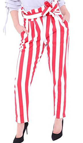 21fashion Pantalones Rojo nica Negro Mujer Talla pdZWdvq