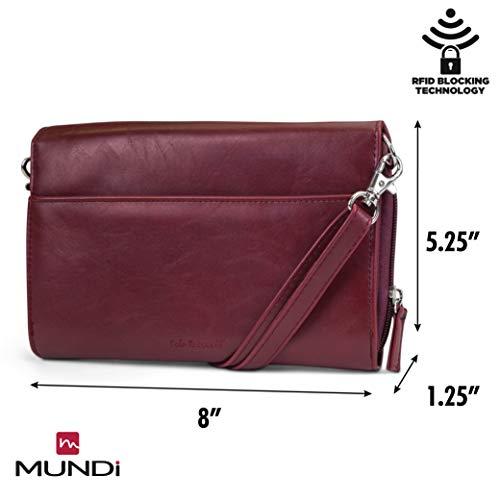 Women Leather Vegan Crossbody Anti Handbag Wallet For RFID Theft Purse Mundi Travel Bag Wine xqIBw1