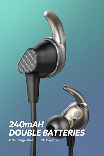 SoundPEATS Bluetooth Wireless Headphone in Ear Earbuds Dual Dynamic Drivers  Earphones with CVC 6 0 Mic and Volume Control IPX6 Sweatproof 13Hour