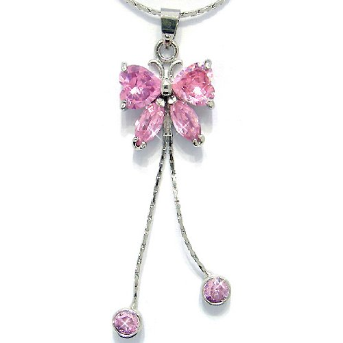"""Pink Sapphire Color CZ Butterfly Silver Tone Pendant with 18""""Necklace P6224"""