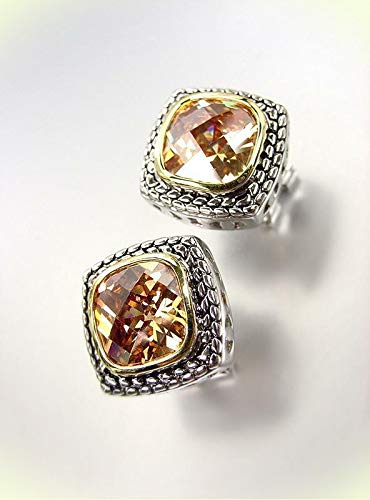 EXQUISITE Balinese Silver Wheat Cable Brown Topaz CZ Crystal Square Earrings For Women Set