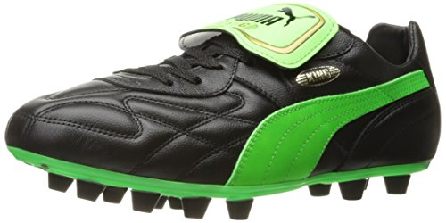 PUMA Men's King Top M.I.I FG Soccer Shoe, Puma Black/Green Gecko/Gold, 10 M US
