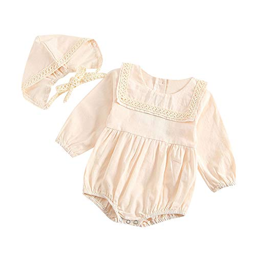 Baby Romper, Waymine Infant Boy Girls Long Sleeve Lace Bodysuit+Hat Clothes Set Beige