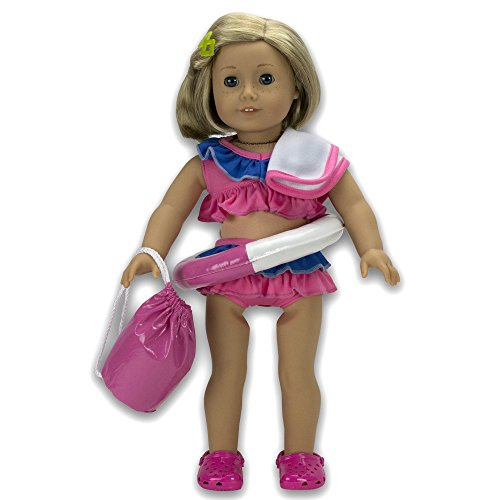 """Dress Along Dolly Swimsuit Set Doll Clothes for 18"""" Dolls: 6"""