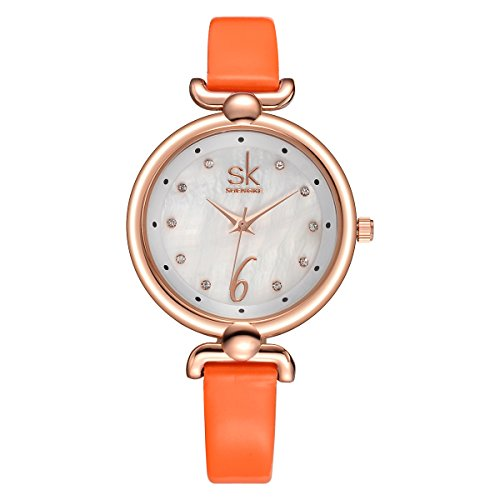SHENGKE K0002L Ultrathin Small Fashion Diamond Leather Women Wrist Watches with Orange Band Gold (Gold Plate Diamond Watch)