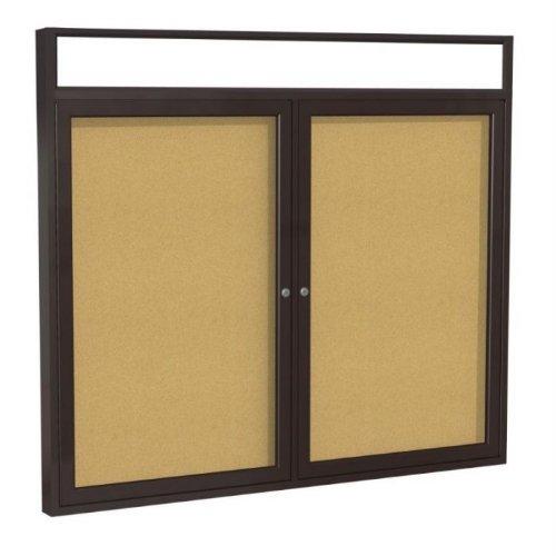 2-Door Aluminum Frame Enclosed Bulletin Board Frame: Bronze Aluminum Indoor, Size: 36