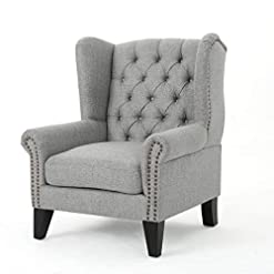 Farmhouse Accent Chairs Christopher Knight Home Laird Traditional Winged Fabric Accent Chair, Grey / Dark Brown farmhouse accent chairs