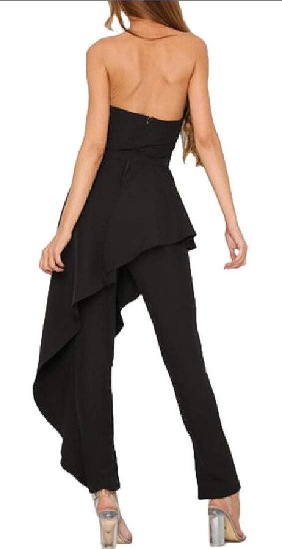 WSPLYSPJY Womens Jumpsuit Off Shoulder Backless Irregular Long Party Playsuit Dresses