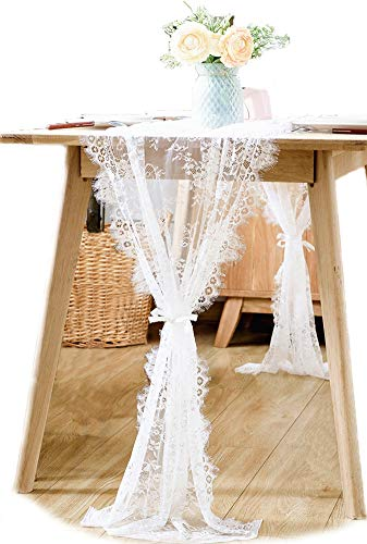 BOXAN 30x120 Inch White Classy Lace Table Runner/Overlay with Rose Vintage Embroidered, Rustic Boho Wedding Reception Table Decor, Fall Thanksgiving Christmas Baby & Bridal Shower Party -