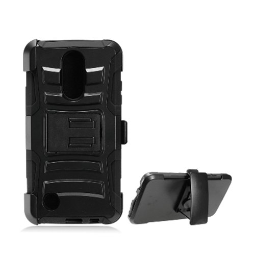 Phone Case for Tracfone LG Rebel 3 Prepaid Smartphone, Dual Layer Holster Belt Clip Cover Case with Kickstand (Black) -  Wireless