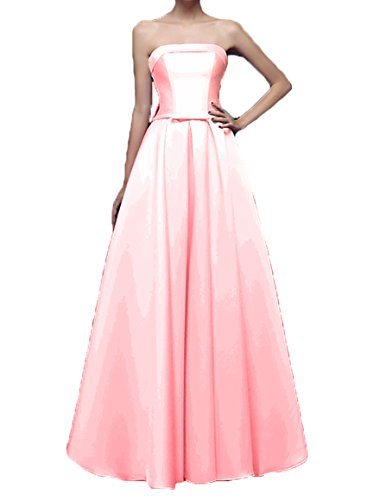Evening Satin Dow Gown Dresses Long Women's DKBridal Prom Party Strapless Pink Formal cnS6xWU