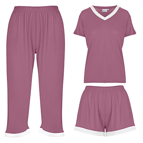 - Bamboo Women's Pajamas Sleepwear 3 Piece Set: Capri Pajama Pants Loungewear Shorts & Top Ultra Soft and Comfortable (Small, Purple)