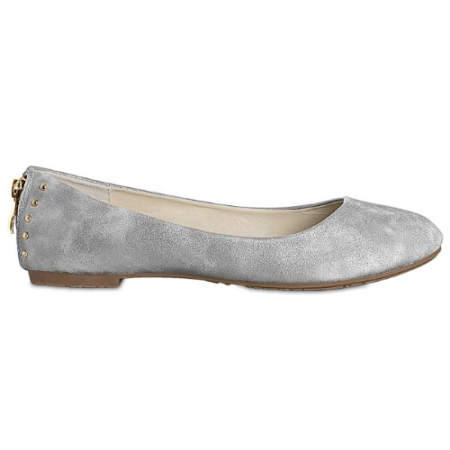 CASPaR Women's Shoes / Slippers with Studs and Zip Various Colours Silver - silver