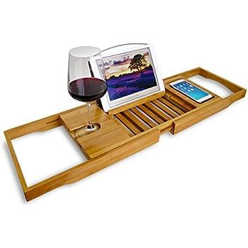 Amazon.com: Bamboo Bathtub Tray Caddy - Converts Your Tub Into a ...
