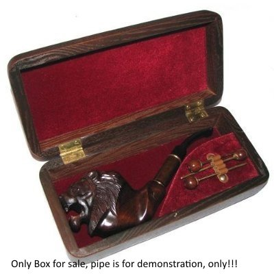 Dr.Watson - Wooden Gift Box, Case for Tobacco Smoking Pipe + cleaning kit set (Large-(9.4''x4.4'')) by Dr.Watson