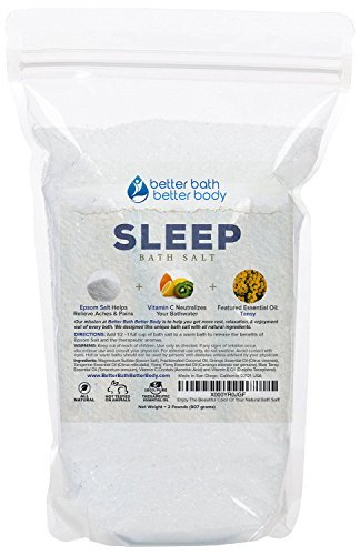 Sleep Bath Salt 32oz (2-Lbs) - Epsom Salt Bath Soak With Tansy Essential Oils & Vitamin C - All Natural, No Perfumes No Dyes...