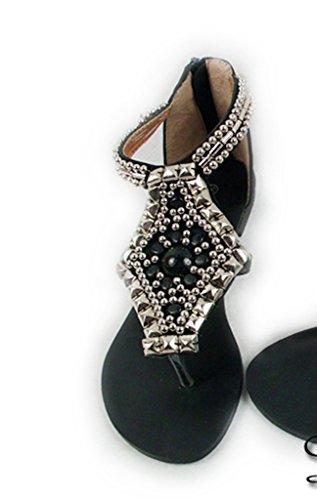 Crc Donna In Stile Romano Con Cerniera Sul Retro Per Chiudere Sandali Casual Flip-flop Sintetici Confortevoli Neri
