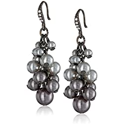 Simulated Grey Pearl and Crystal Beaded Cluster Dangle Earrings