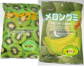 Kasugai Kiwi and Melon Gummy Candies 2 Packs (4.41 Oz / Pack)