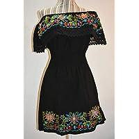 Vestido bordado artesanal mexicano, oaxaca, vestido strapless, vestido negro bordado, vestido corto juvenil
