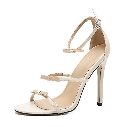 Women Heeled Sandals Ankle Strap High Heels Open Toe Bridal Party Shoes Beige