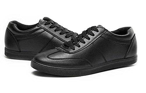 T & Mates Mens Traspirante Lace-up Punta Rotonda Casual Pu Moda Sneakers Nere