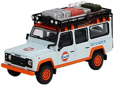 Land Rover Defender 110 with Roof Rack and Accessories Gulf Oil Light Blue and Orange 1/64 Diecast Model Car by True Scale Miniatures MGT00156