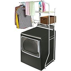 Width Adjustable 2-Shelf White Metal Space Saver Unit / Utility Storage Rack - MyGift
