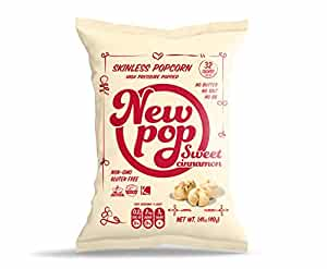 New Pop Skinless Popcorn, Sweet Cinnamon, 24 Count