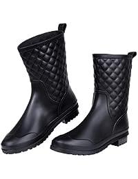 Women's Mid Calf Rain Boots Waterproof Lightweight Garden Shoes