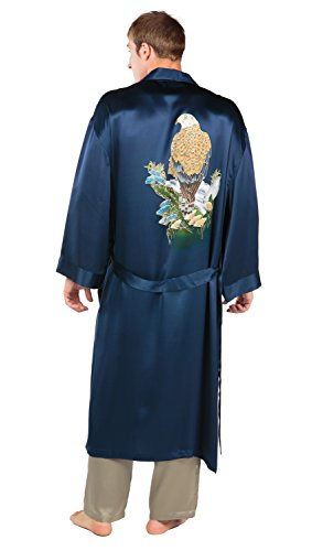 TexereSilk Men's Luxury Silk Robe (Air Force Blue, Large/X-Large) Luxury Lightweight Father's Day Gifts for Him MS0105-AFB-LXL (Robe Mens Texeresilk)