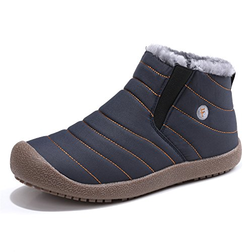 Schuhchan Mens Warm Winter Boots Leather Waterproof Snow Ankle Boots Blue-02