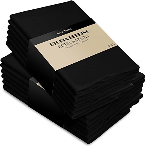 s Black - 12 Pack (18 inches x18 inches) Soft and Comfortable - Durable Hotel Quality - Ideal for Events and Regular Home Use - by Utopia Bedding (Event Accessories)