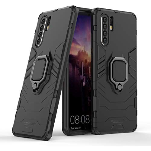 Mondetech Huawei P30 Pro Case, Slim Drop Protection with Ring Stand, Magnetic Holder Compatible, Outdoor Heavy Duty Shockproof Protective Cover for Huawei P30 Pro, Black