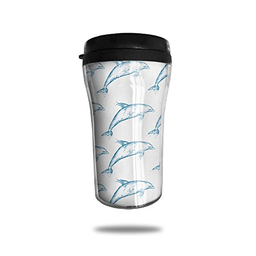 Vacuum Insulated Stainless Steel Coffee Cup , 250ML (Transparent Dolphin)