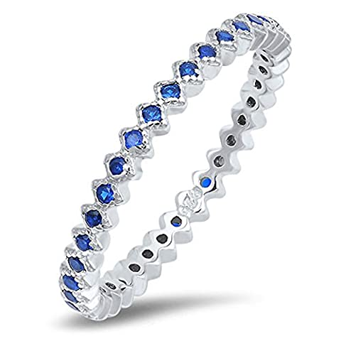 Eternity Blue Simulated Sapphire Stackable Ring .925 Sterling Silver Band Size 8 - Blue Sapphire Eternity Ring