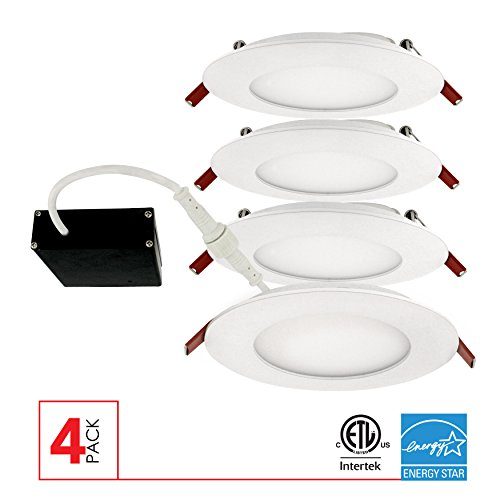 LED Ultra Slim 4' Dimmable Recessed Ceiling Down Light, IC rated Airtight 9W, 650 Lumens, 70W...