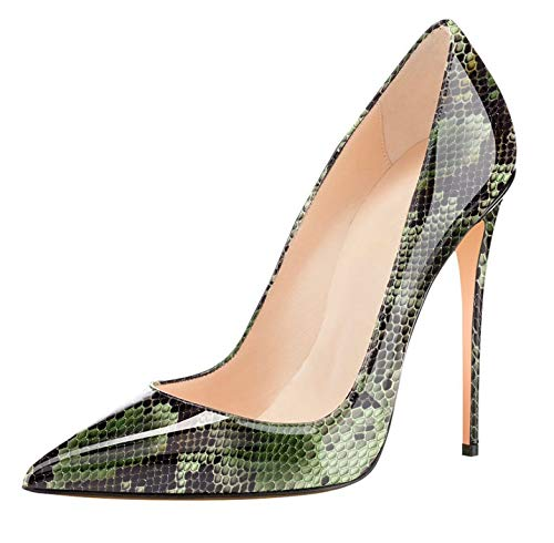 (Womens Pointed Toe High Heels Slip On Stiletto Pumps Wedding Party Basic Shoes 12cm Green Python US9)