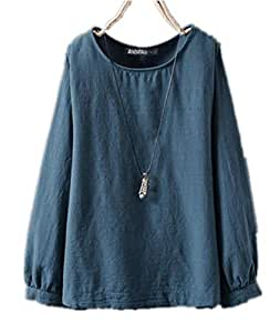 TT WARE Women Long Sleeve Crew Neck Casual Solid Cotton Blouse-Blue-18