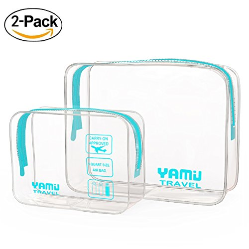 TSA Approved Toiletry Bag YAMIU Airline Compliant Waterproof Clear Travel Toiletry bag 2-Pack(2 Sizes) for Men/Women (Aqua Green)