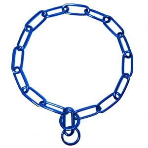 Platinum Pets Coated Fur Saver Chain Training Collar, 25-Inch by 3mm, Blue