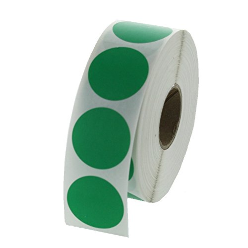 Green Round Color Coding Inventory Labeling Dot Labels / Stickers - 1 Inch Round Labels 1000 Stickers Per Roll