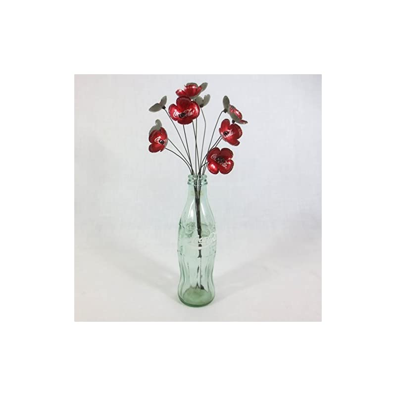 silk flower arrangements vibrant red coca-cola forever blooming flowers bouquet made to order