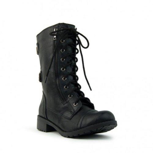 Women's Combat Military Cowboy Mid Calf Rubber Sole Boots