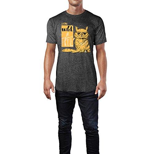 SINUS ART ® Süße Katze mit Brillle - Extra Wild & Free Herren T-Shirts in dunkelgrau Fun Shirt mit tollen Aufdruck
