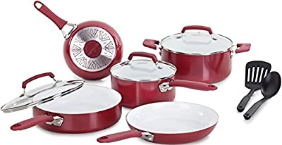 Premium 10 Piece Cookware Set Nonstick Ceramic Coating, Scratch-Resistan and Cadmium Free Dishwasher Safe Oven Safe, Red Color, Food Network Featured