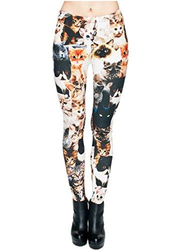 Ayliss Printed Brushed Leggings Regular Plus Size Stretchy Capris 22Pattern,Cute Cats,XS-M