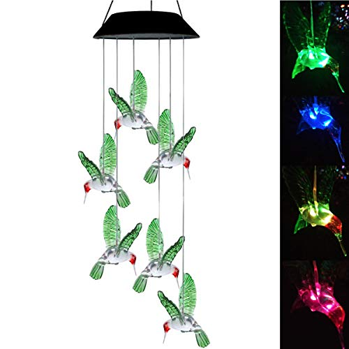 Topspeeder LED Solar Hummingbird Wind Chime, Changing Color Waterproof Six Hummingbird Wind Chimes For Home Party Night Garden Decoration (Hummingbird) by Topspeeder