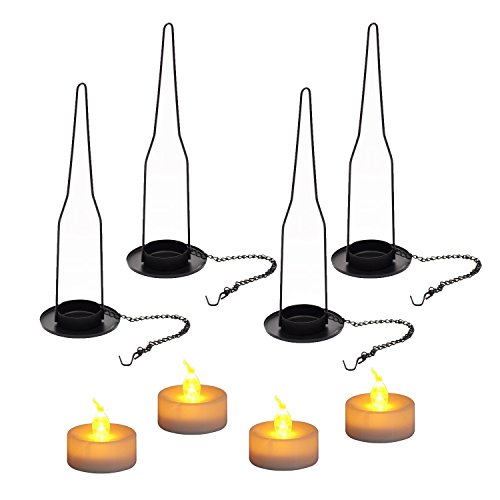 Hanging Candle Holder, 4 Sets Bottle Lamp Hanger with Flickering Tealight for Wine Beer Bottle Jar DIY Bottle Cutting Gift
