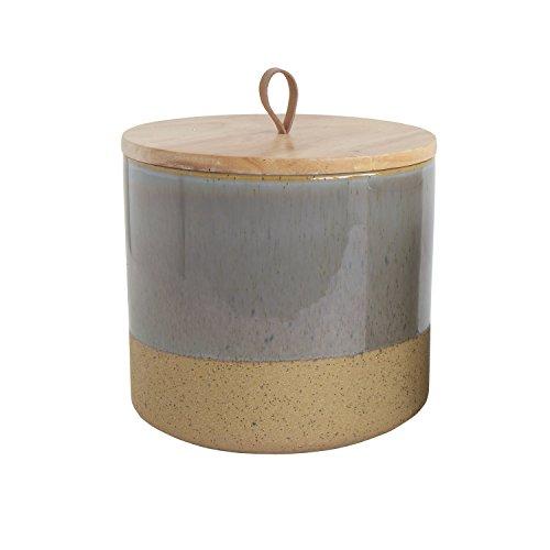 Creative Co-Op DA8247 Grey Stoneware Jar with Lid & Leather Loop